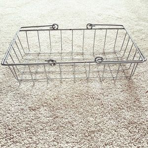 Vintage silver metal/wire basket with handles